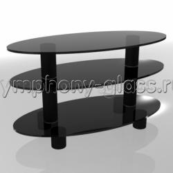 Овальная тумба Стекло Металл ПО 90.3 стекло черное, опоры черные