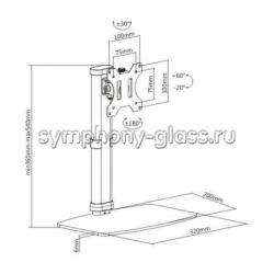Настольный наклонно-поворотный кронштейн Brateck LDT19-T01