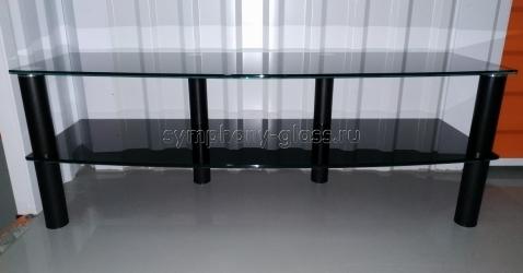 Тумба для тв Стекло-Модуль тв11-2 1200 стекло ЧЕРНОЕ, опоры ЧЕРНЫЕ