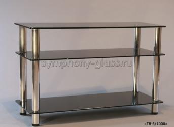 Стеклянная этажерка для тв Стекло-Модуль ТВ-6/1000 стекло БРОНЗА, опоры ХРОМ