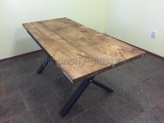 Деревянный обеденный стол в стиле лофт Loft-2