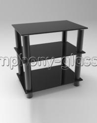Тумба для тв Стекло Металл ТВС 60.3|4 стекло черное, опоры черные или серебристые
