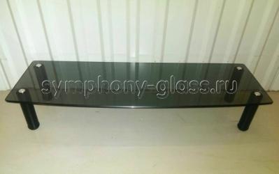 Стекло-надстройка на тумбу Этажерка О-1 350 стекло ЧЕРНОЕ, опоры ЧЕРНЫЕ (ВИТРИННЫЙ ОБРАЗЕЦ)