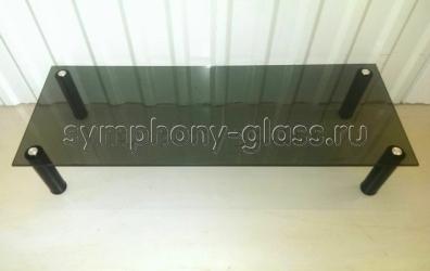 Стекло-надстройка на тумбу Этажерка П-1 400 стекло ЧЕРНОЕ, опоры ЧЕРНЫЕ (ВИТРИННЫЙ ОБРАЗЕЦ)