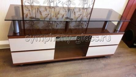 Стойка для телевизора с ящиками - Максимус 1400 c стеклодверкой