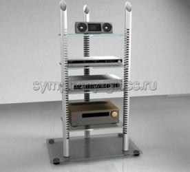 Стойка для аппаратуры с регулируемыми полками Стекло-Модуль 007-4