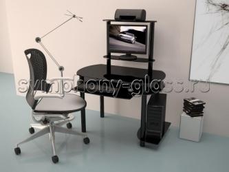 Стеклянный стол для компьютера Akma Noir-02