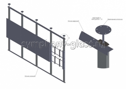Распорная стойка для видеостены 4х2 монитора (с уголками)
