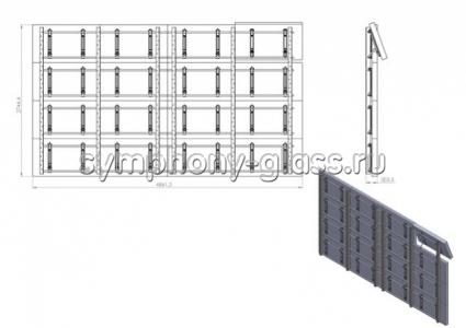 Настенная видеостена для 4х4 (16) мониторов