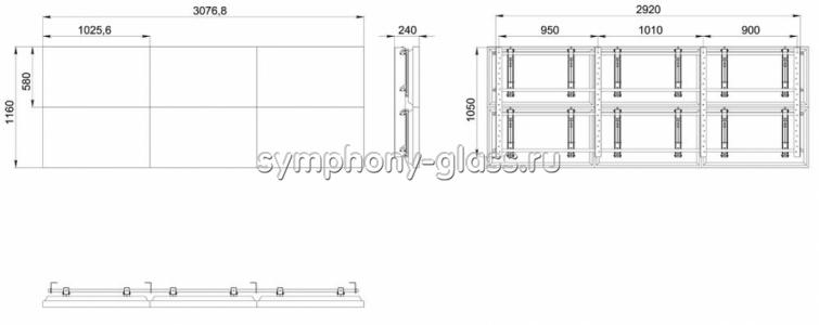 Видеостена настенный крепеж 3х2 панели