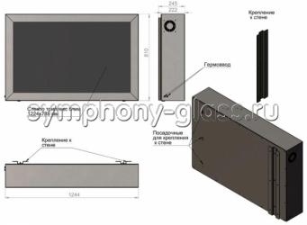 """Настенный антивандальный кожух для LG-50"""" с термореле и вентилятором"""