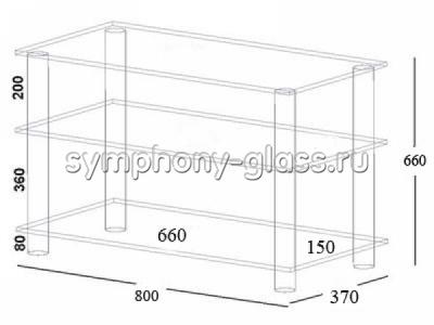 Стойка для телевизора Асмис 800 стекло ЧЕРНОЕ, опоры ЧЕРНЫЕ (ВИТРИННЫЙ ОБРАЗЕЦ)