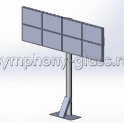 Напольная видеостена на 4х2 монитора Вариант 3 крепление к полу