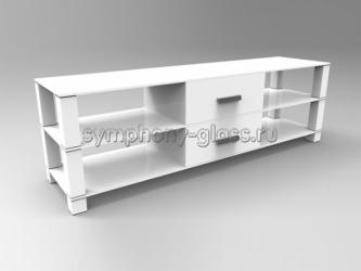 Белая тумба с ящиками  для тв Стекло Металл Н-1 Белая