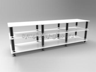 Стойка для большого тв и аппаратуры 180 см Стекло Металл Модуль 1800