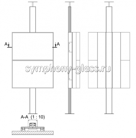 Распорная стойка для видеостены 1х2 монитора