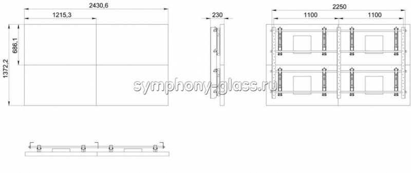 Видеостена настенный крепеж 2х2 панели