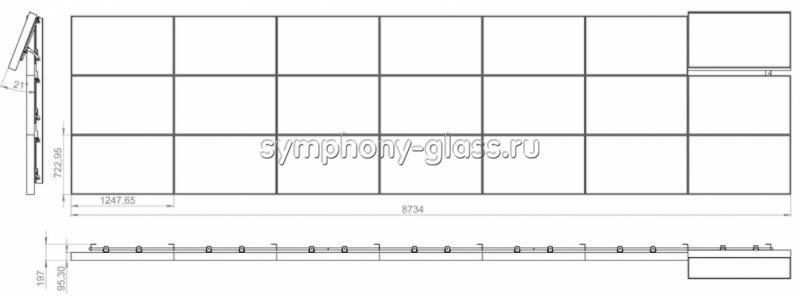 Настенное крепеление для видеостены 7х3 панелей