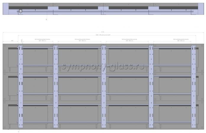 Видеостена настенный каркас 4х3 панелей