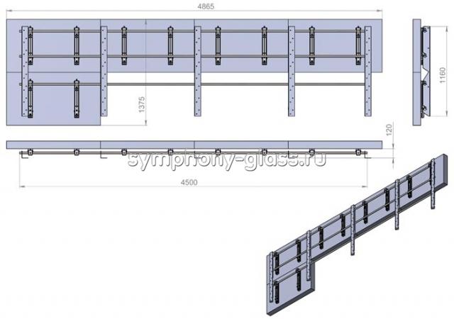 Настенное крепление для видеостены 4х2 панели