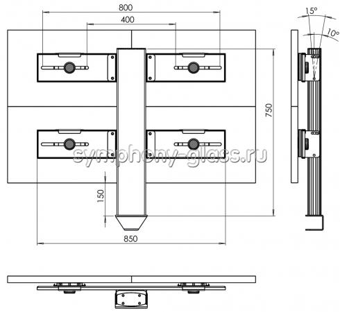 Настольная стойка для видеостены 2х2 монитора (на струбцине)
