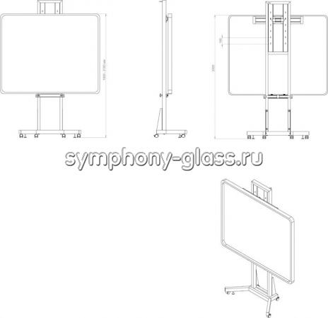 Стенд для интерактивной доски с кронштейном под проектор UF-1