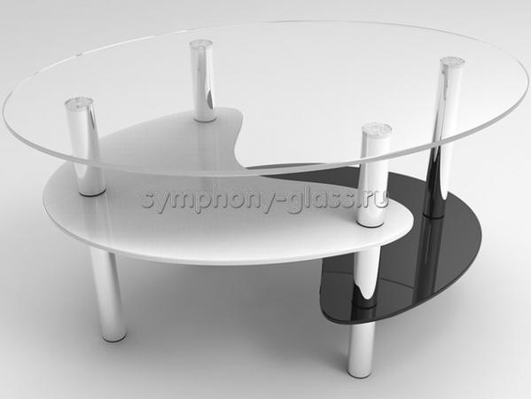 Овальный журнальный стол Стекло Металл Капля