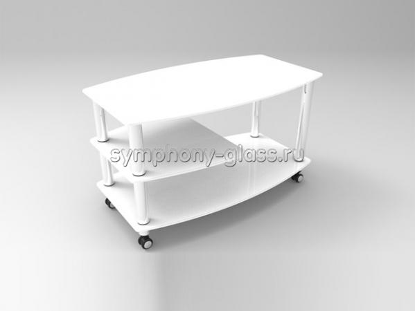 Журнальный столик на колесах Стекло Металл Бочка