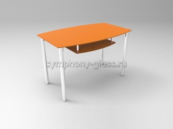 Закругленный стеклянный обеденный стол Стекло Металл Дельта