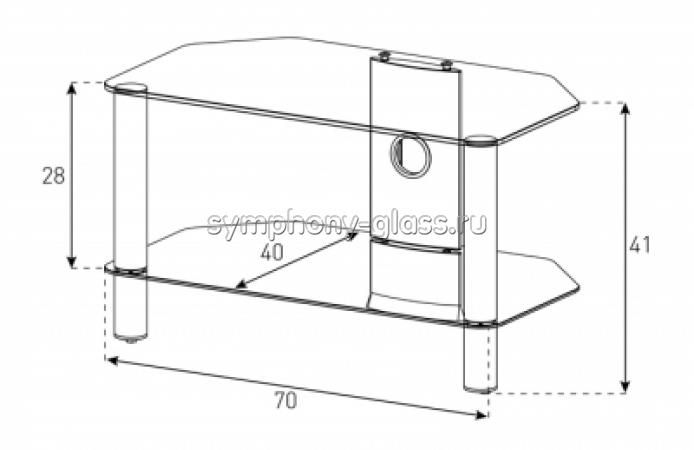 2-полочная стеклянная тумба для жк Neo 270