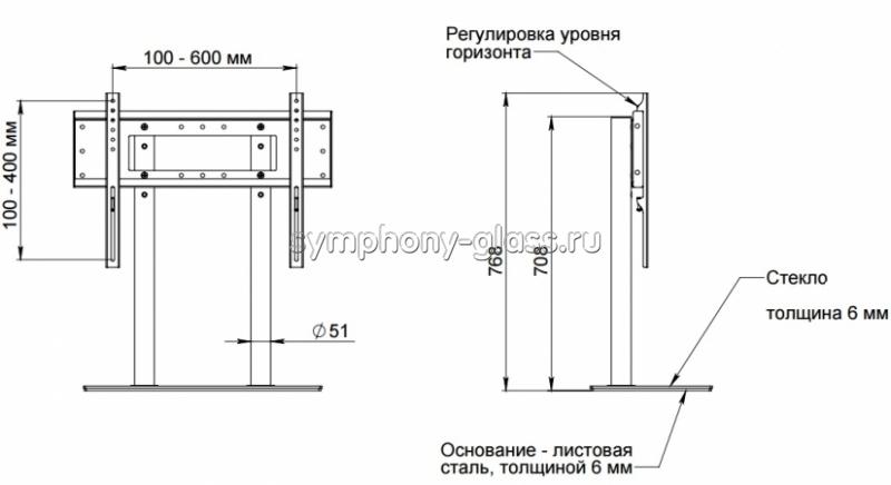 Настольная подставка для ТВ Allegri УНП-52/65