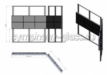 Угловая распорная стойка 5х2 мониторов (с уголками)