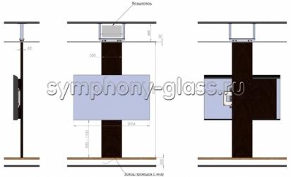 Напольно-потолочный кронштейн с обшитым корпусом для тв от 70 до 103 дюймов