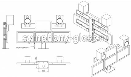 Настольный кронштейн для 4 мониторов и колонок (Вариант 1)