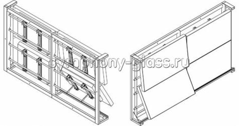 Видеостена настенный крепеж 2х2 панели (с декоративным кожухом)