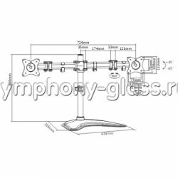Настольный кронштейн для двух мониторов Itech MBS-12M