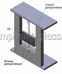 Распорная стойка с декоративным стеклом для тв в шишу