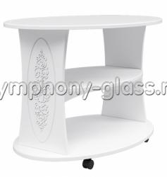 Белый журнальный столик на колесах Компасс Ассоль АС-17